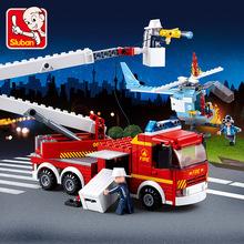 【一件代發】小魯班0627登高平臺消防車火警兒童益智拼裝積木玩具