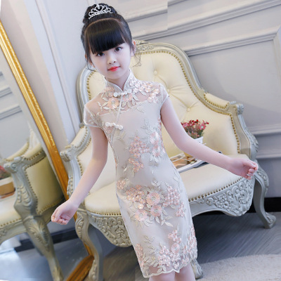 Qipao for kids Chinese girl Qipao skirt little girl children Chinese Dress zither performance dress