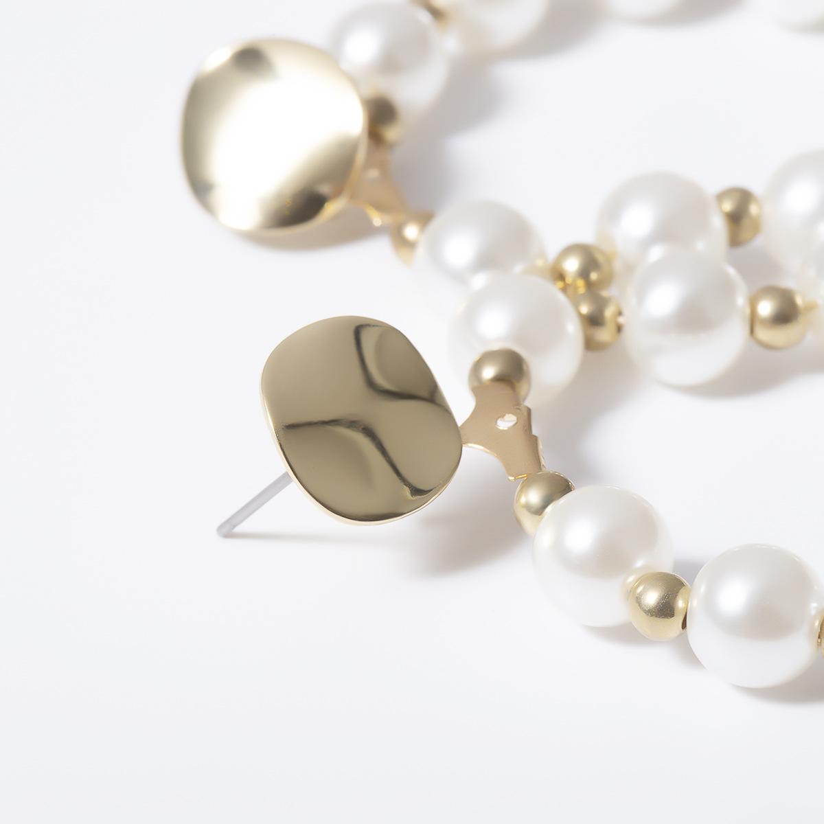 Vintage Baroque Shaped Pearl Ring Stud Earrings NHXR153029
