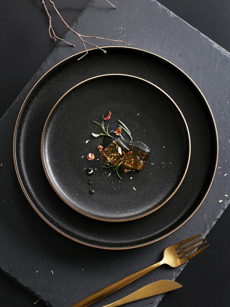 黑色磨砂牛排盤陶瓷餐具盤金邊磨砂西餐盤金邊牛排盤10寸8寸批發