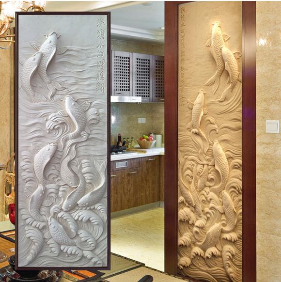 厂家生产 跃龙门中国风浮雕 砂岩浮雕 家装浮雕 手工浮雕来图定制