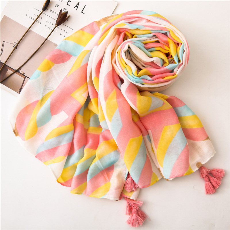 Cotton linen scarf sweet cotton candy cartoon printed long summer sun shawl NHGD199212