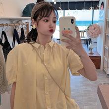 2019夏日新款洗水棉纯色泡泡短袖衬衣 防晒衬衫 女装批发一件代发