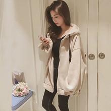 时尚女装加绒外套学生韩版卫衣保暖宽松大码拉链开衫春秋2019新款