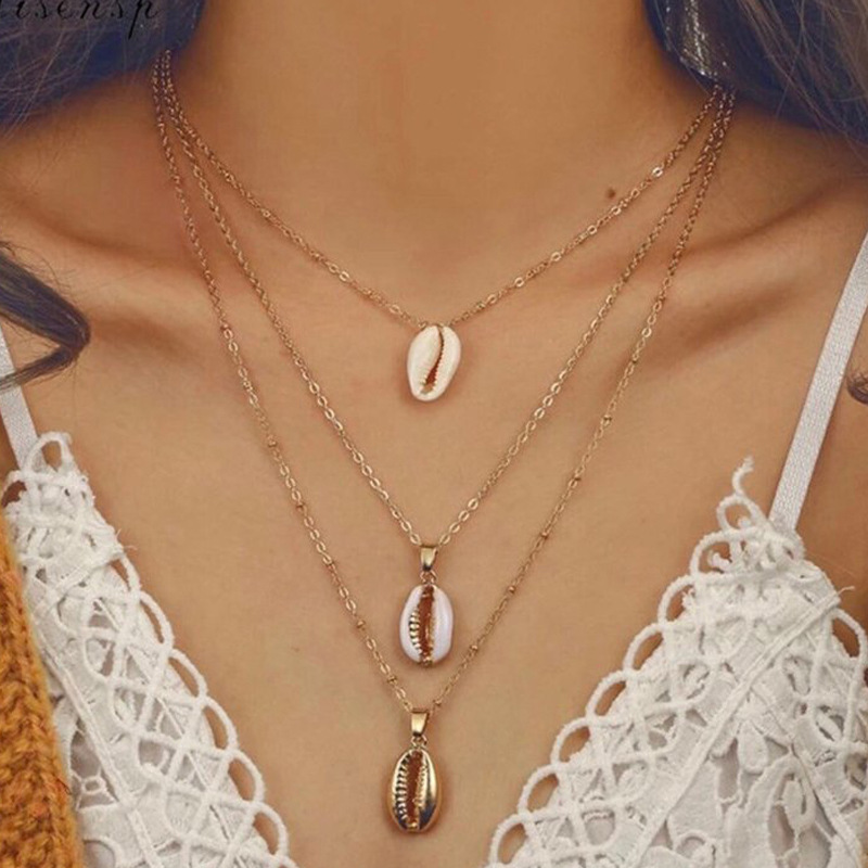 Womens Multi-layer shell alloy Necklaces NHNZ122091