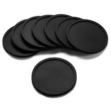 圆形黑色硅胶杯垫定制印刷logo酒店文化用品软胶杯托