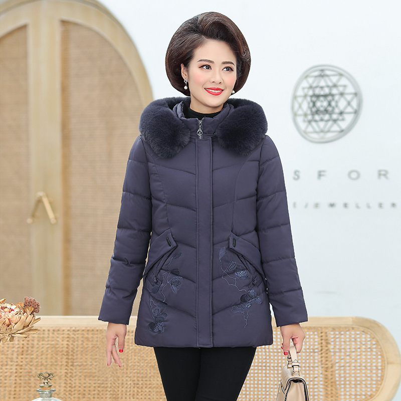 Middle-aged and elderly women winter clothes mother padded jacket short style middle-aged women with thick down cotton clothes 2019 Winter cotton-padded jacket 9882