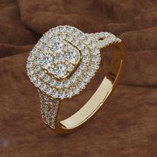 速卖通新款微镶满钻八心八箭仿真方形戒指 欧美镀18k黄金订婚指环