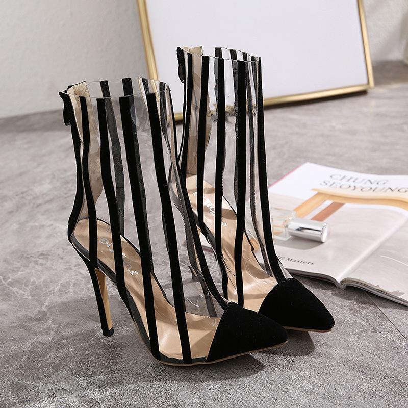 Rayas transparentes, simples, cómodas, puntiagudas, sexy, botas de tacón alto 35-42 NHEH186096
