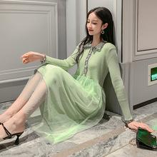 2019年流行裙子秋裝新款小香風牛油果綠法式仙女很仙的氣質連衣裙