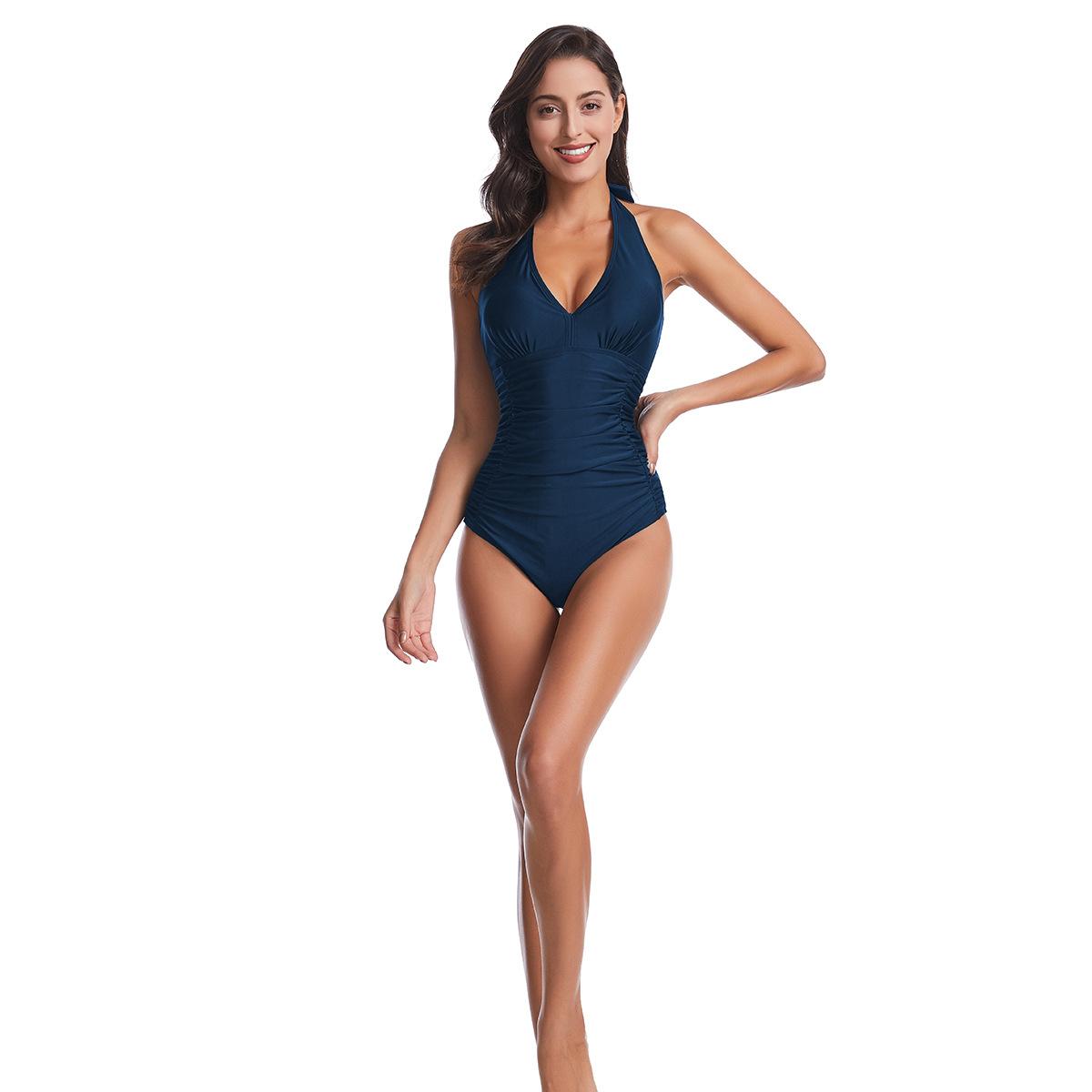 Sexy one-piece swimsuit cross-border bikini v-neck swimsuit yiwu jewelry supplier NHHL203320