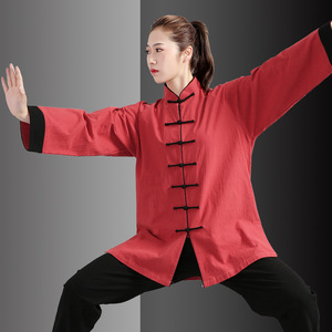 Tai chi clothing wushu uniforms for women and men Thickened cotton linen wrinkled kung fu clothing for women martial arts training clothes
