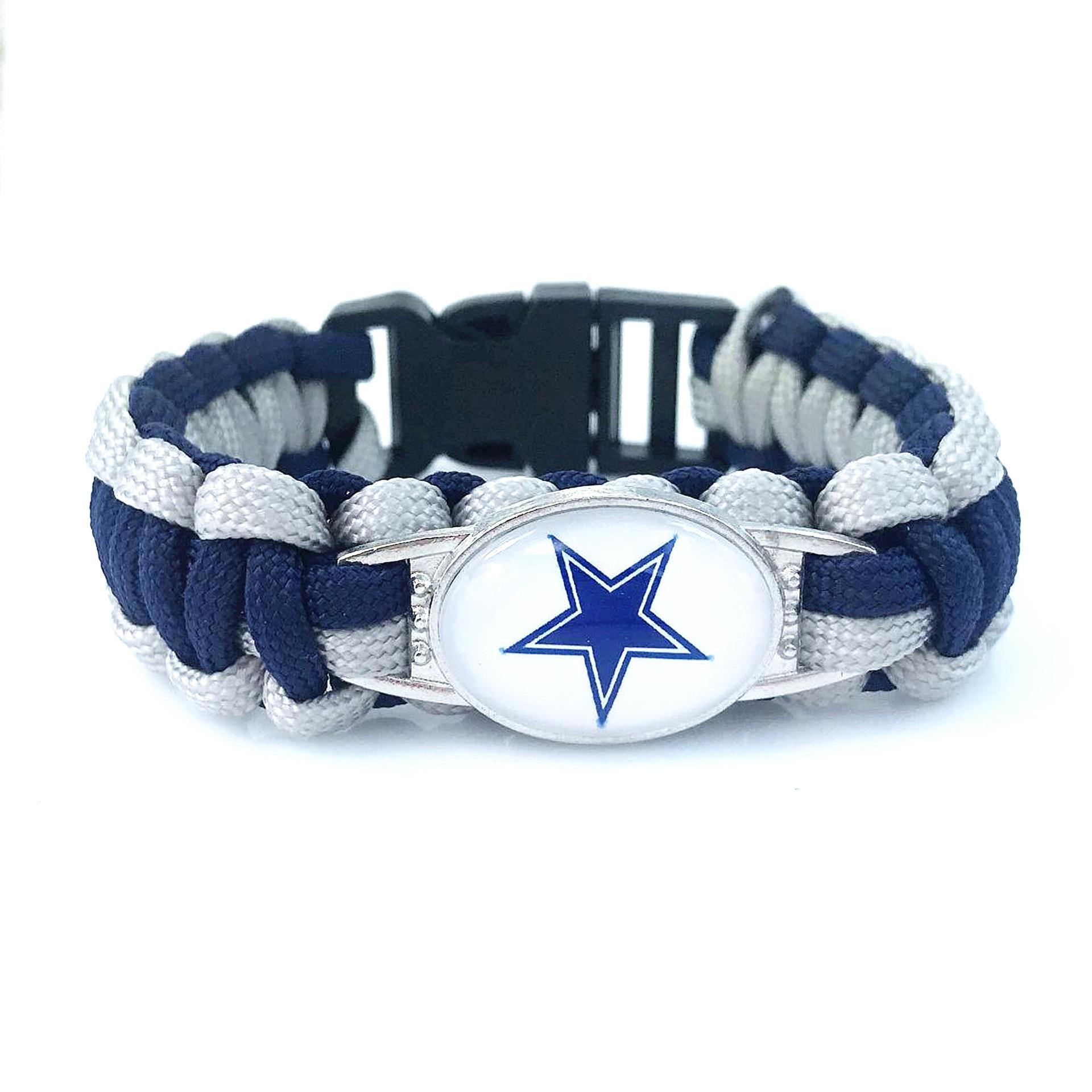 美国NFL足球达拉斯牛仔队Dallas Cowboys 合金扣伞绳编织手链手环