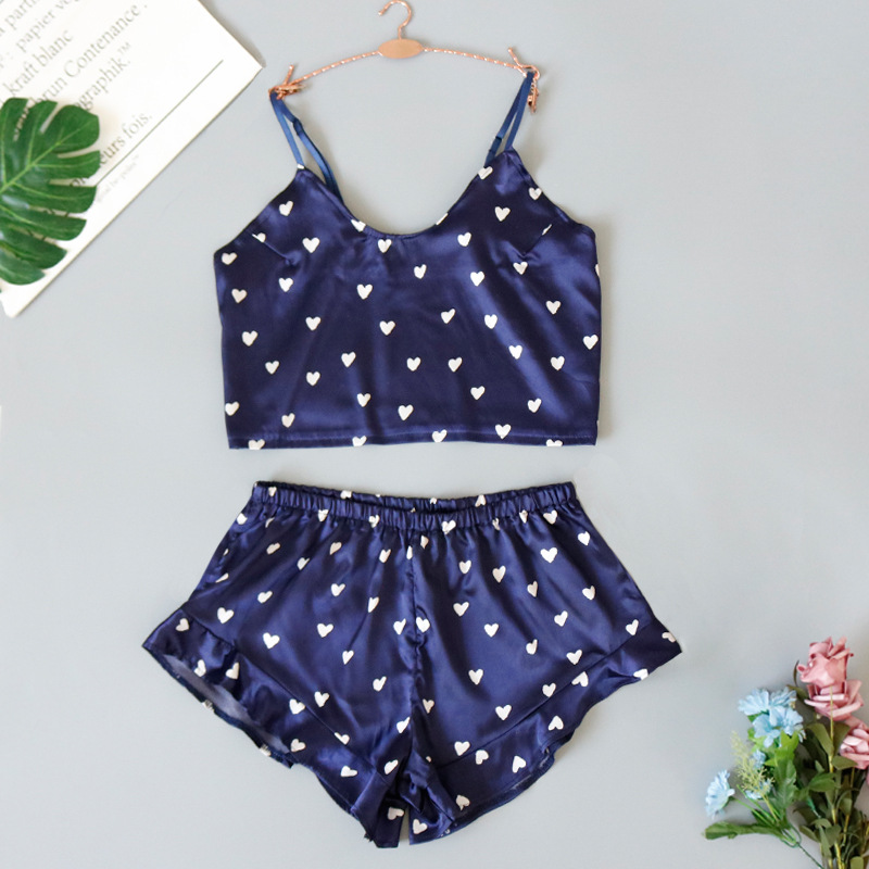 New two-piece suspender shorts sweet and cute sexy heart print pleated pajamas NHYO204757