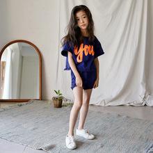 2019夏季新款時尚休閑中大童純棉女童套裝字母印花童裝INS親子裝