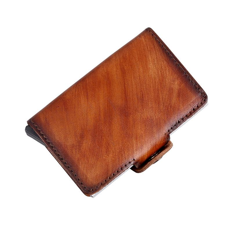 【一件起发】真皮双卡盒擦色自动卡包高档双色红色RFID防消磁卡包