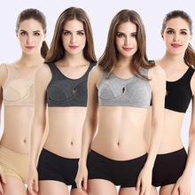 厂家外贸无钢圈纯棉运动文胸 聚拢瑜伽睡眠防外扩美胸衣