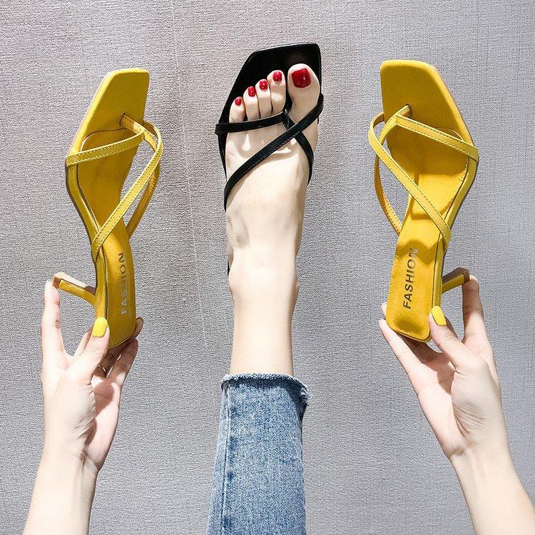 High-heeled slippers women's summer wear...
