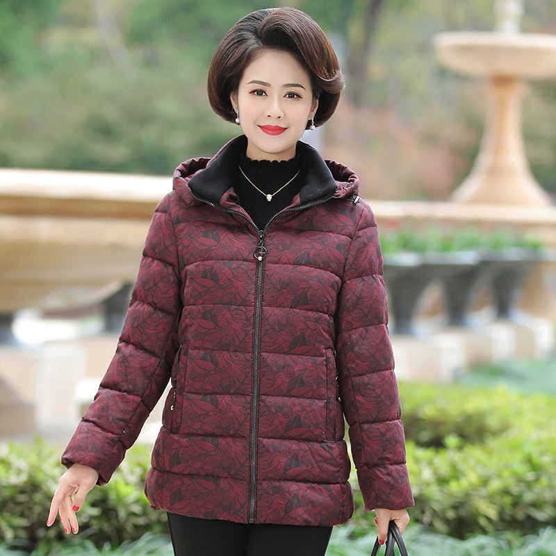 Middle aged and elderly cotton padded clothes new thickened medium and long down cotton padded clothes hooded large mother's coat women
