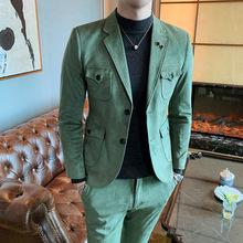 男士商务绅士潮流西服两件套韩版男式麂皮绒时尚礼服套装2件套男
