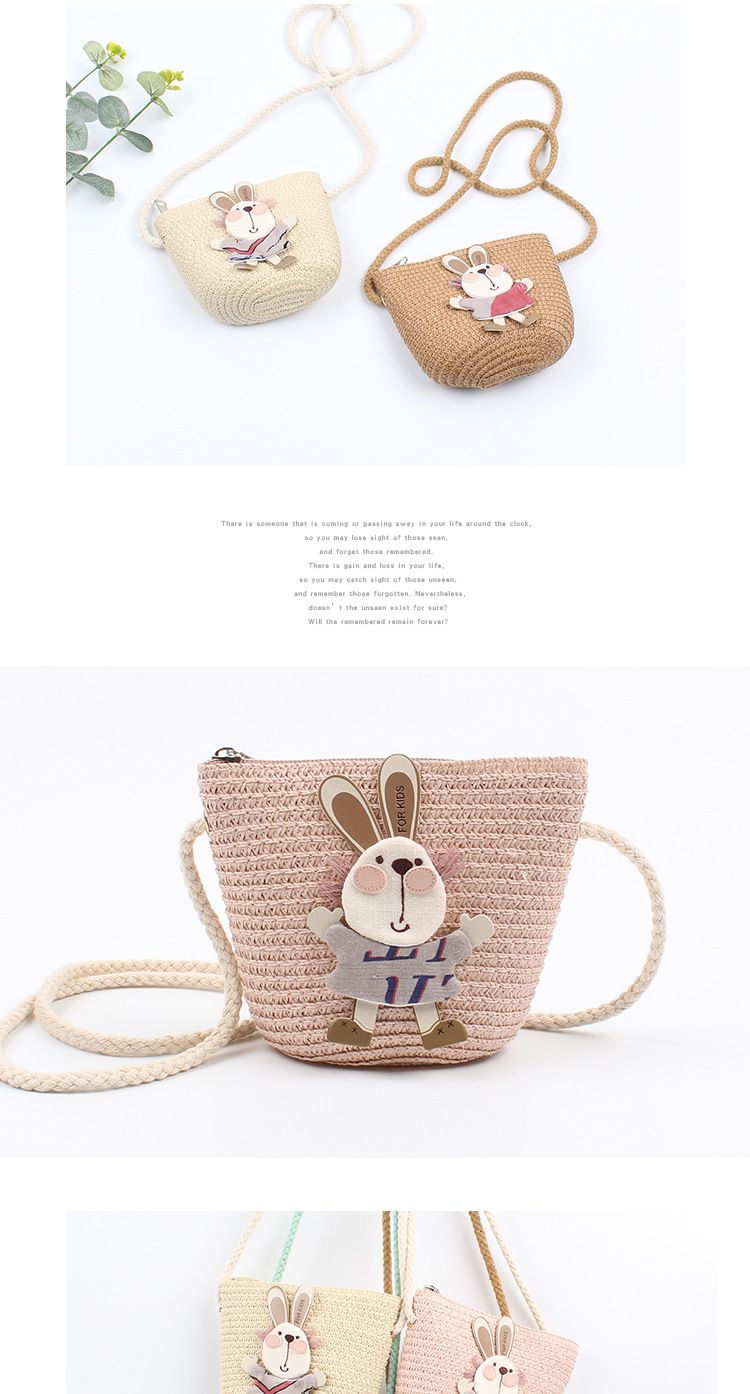 Bunny straw bag girls outdoor travel sweet cute crossbody bag Korean version of the baby mini coin purse wholesale nihaojewelry NHXO222120