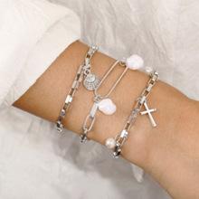 歐美跨境新款手鏈 創意復古簡約十字架金屬扇貝珍珠手鏈套裝3件套