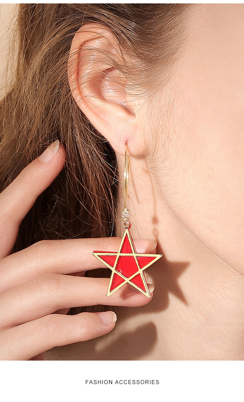 Fashion five-pointed star decorative new trendy exaggerated alloy pendant earrings for women NHPP251549