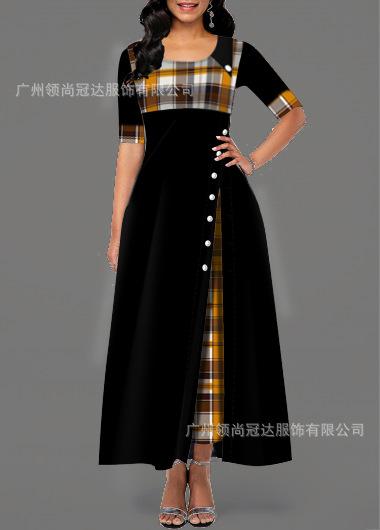2020 ثوب جديد الأمازون جولة الرقبة ضرب اللون بلا أكمام غير النظامية فستان طويل مخزون كبير