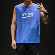 港风夏季男士潮流无袖背心学生宽松韩版运动汗衫坎袖上衣一件代发