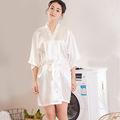 供应女士睡袍仿真丝和服袍 高贵纯色薄款开衫袍夏季性感短款浴袍
