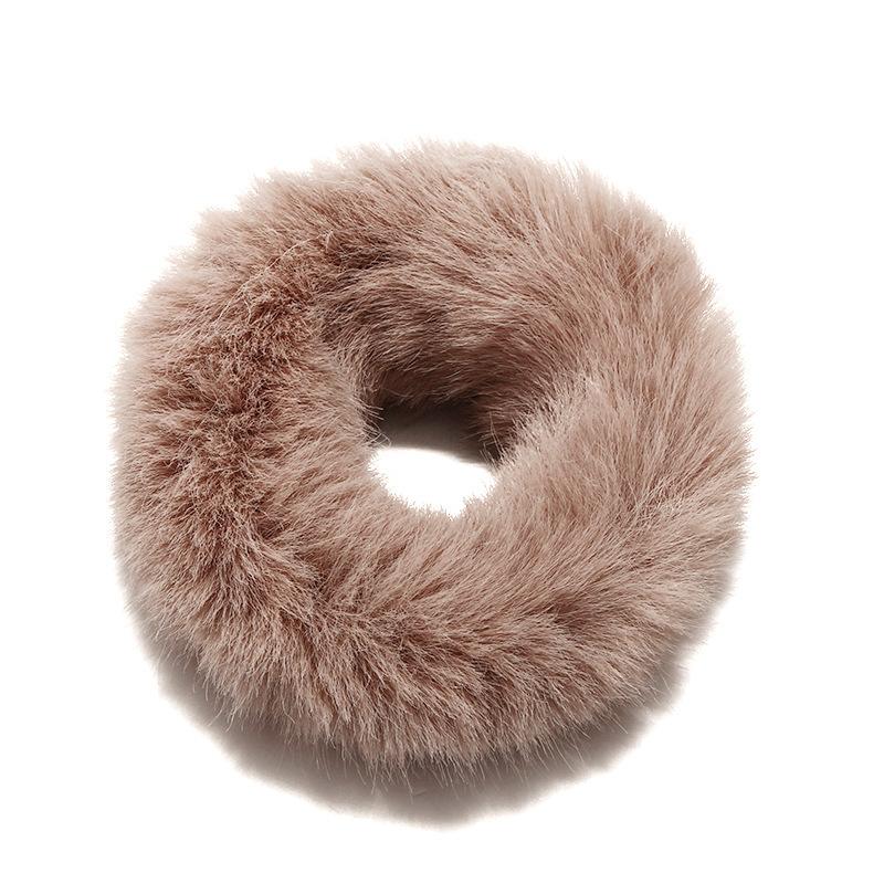 New cute sweet rabbit fur ring female simple solid color plush hair accessory headband NHPF196124