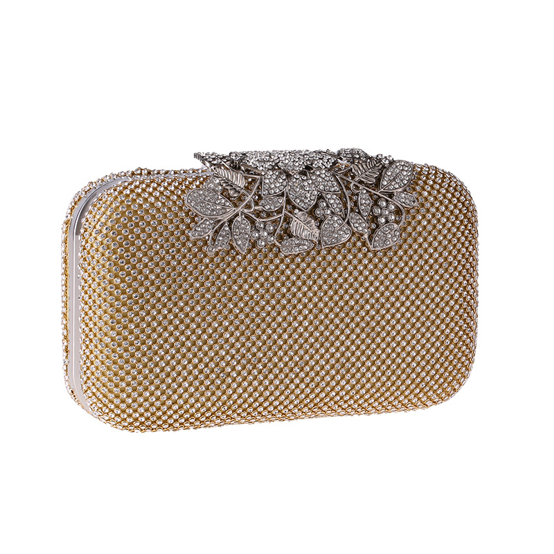 European and American leaves with rhinestone evening bag NHYG139617