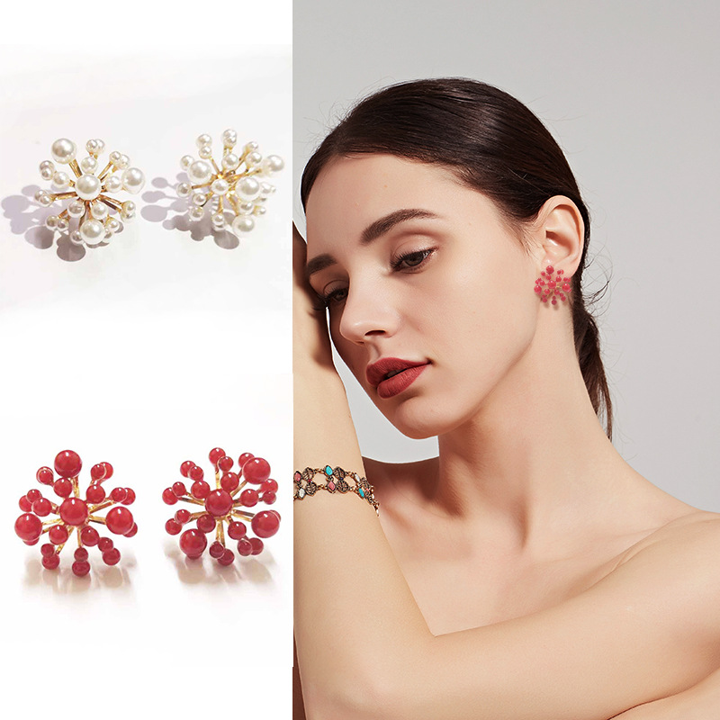 South Korean fireworks shaped Pearl Earrings 2019 new exaggerated popcorn earrings earrings female