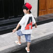 夏装儿童短袖字母t恤男童纯棉半袖2019新款宝宝小孩上衣休闲套装