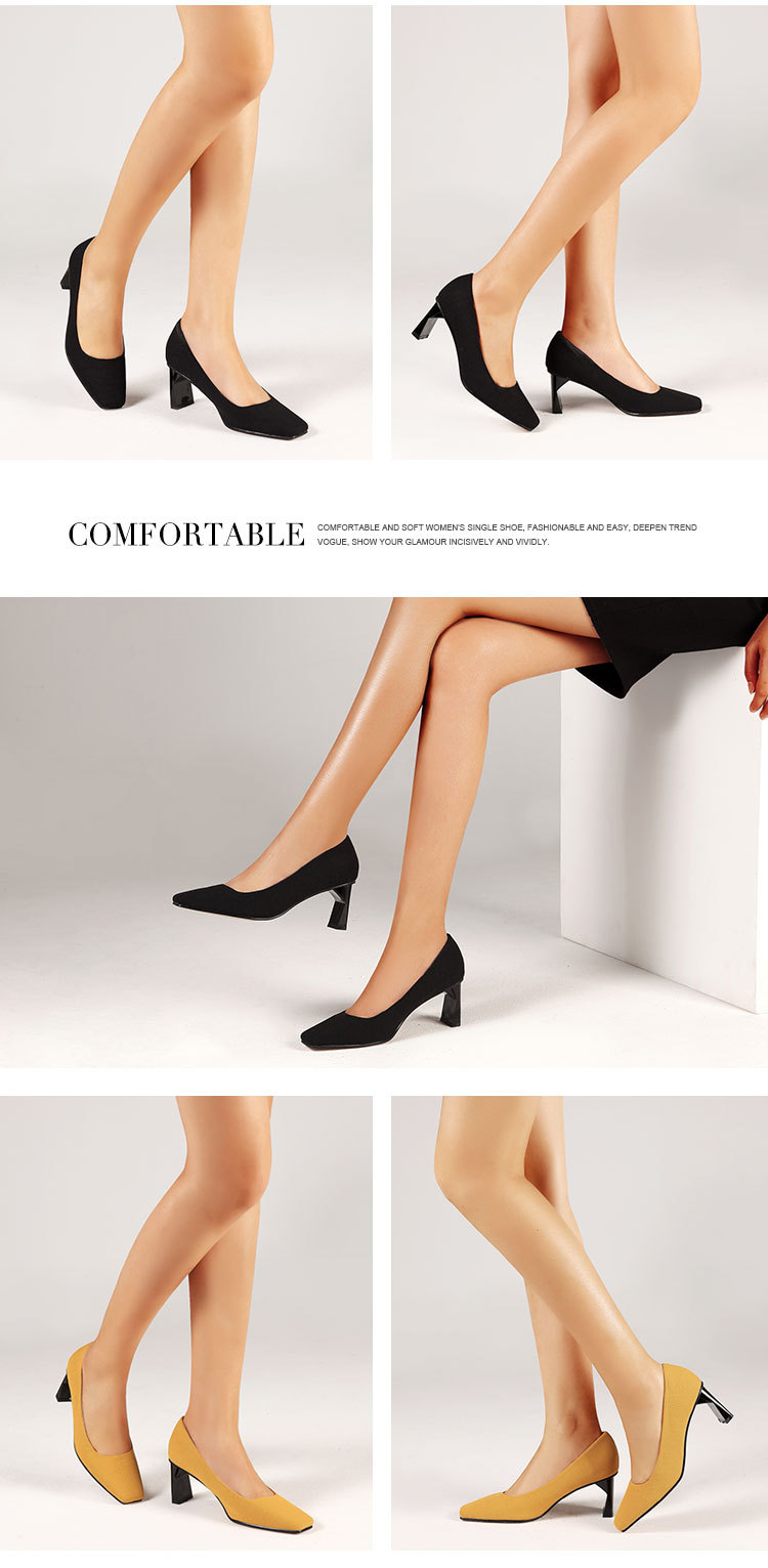 Fashion solid color square head shallow mouth with women's shoes NHPL129749