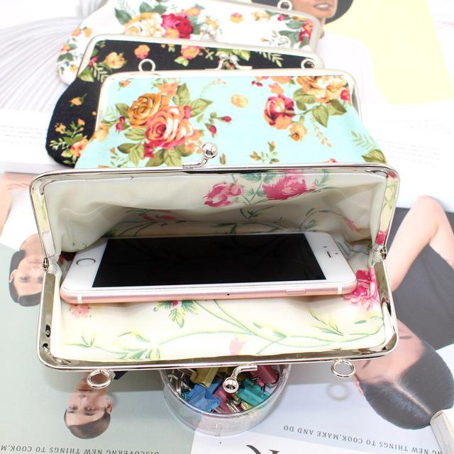 大屏手机包 简约复古帆布玫瑰花小包包 汉服小包横款手拿零钱包
