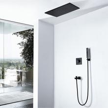 冷熱黑色長方形暗裝LED水力發電色溫暗燈淋浴花灑套裝HI05073A