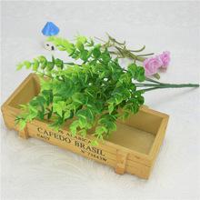 厂家供应 仿真花假花塑料干花 7叉35目尤加利 金钱叶绿色植物盆栽