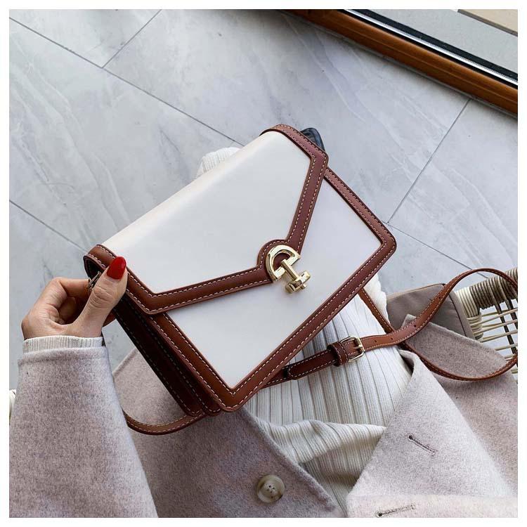 Nueva moda casual costura bolso de hombro simple bordado salvaje hilo bloqueo diagonal pequeño bolso cuadrado NHPB183069