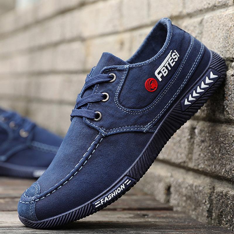 男鞋春夏秋休闲布鞋男帆布鞋透气牛仔老北京布鞋软底系带板鞋A07