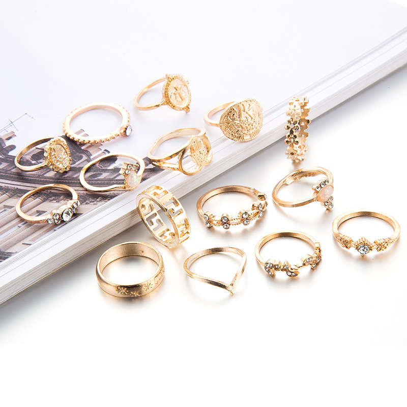15PCS Gold Ring Set Knuckle Joint Stackable Vintage Midi Bohemian Crystal Fashion Jewelry VSCO TikTok E-Girl Style