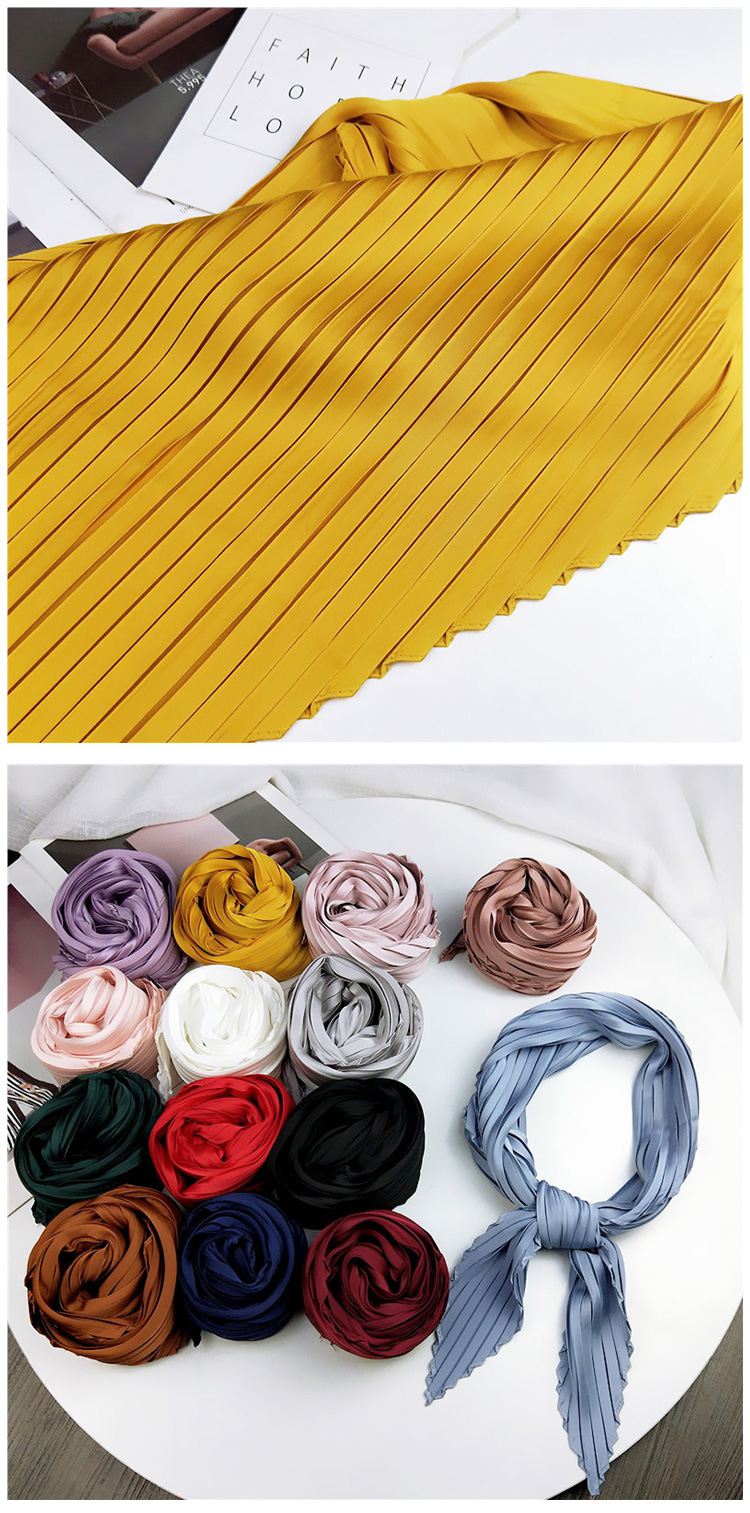 Solid color pleated diamond square scarf literary retro small scarf NHMN171775