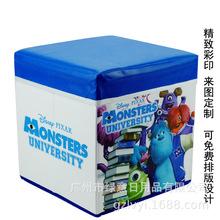 可定制卡通圖案折疊收納凳pu皮革彩印儲物凳高品質兒童玩具收納箱
