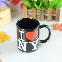 黑色7102圆柱直筒陶瓷杯日用百货创意小礼品广告马克杯定制LOGO