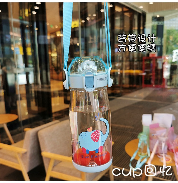 Children's cartoon straw cup cute baby student anti-fall plastic cup portable trend handy water cup NHtn203935