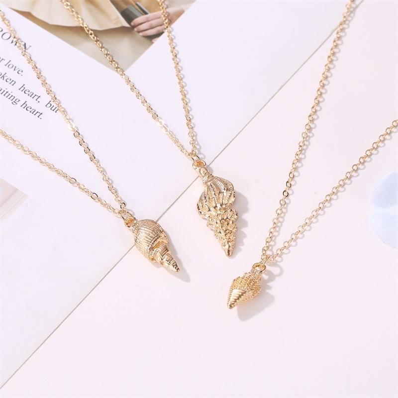 Fashion  metal shell conch women's necklace wholesale NHMO254244