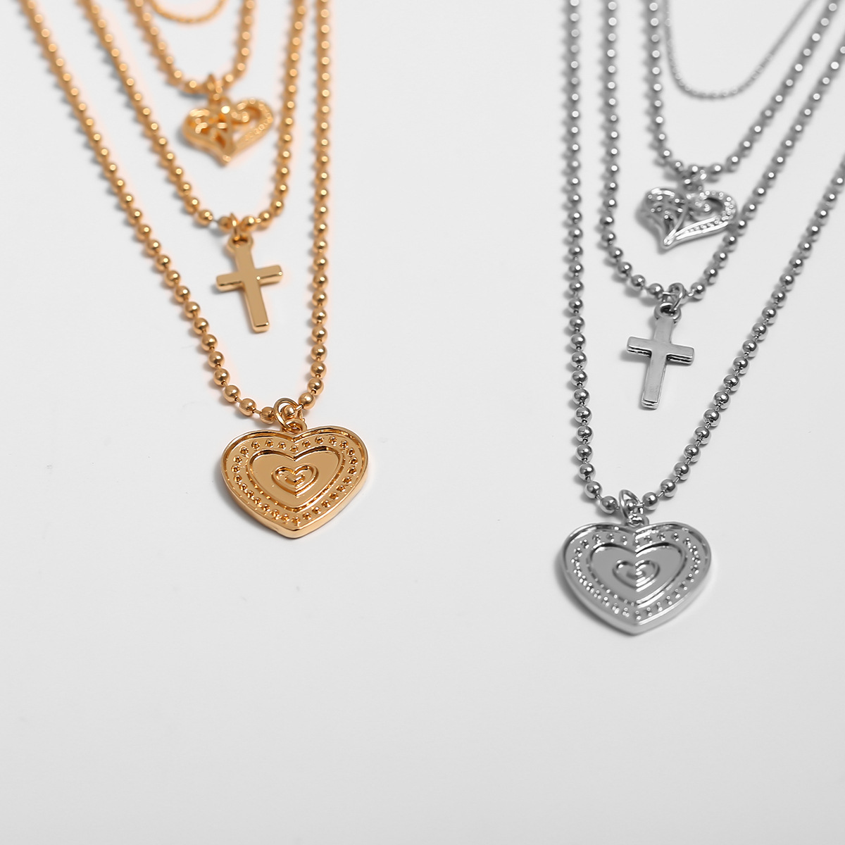 Geometric multi-layer temperament item female round bead chain heart-shaped hollow pendant necklace NHXR177022