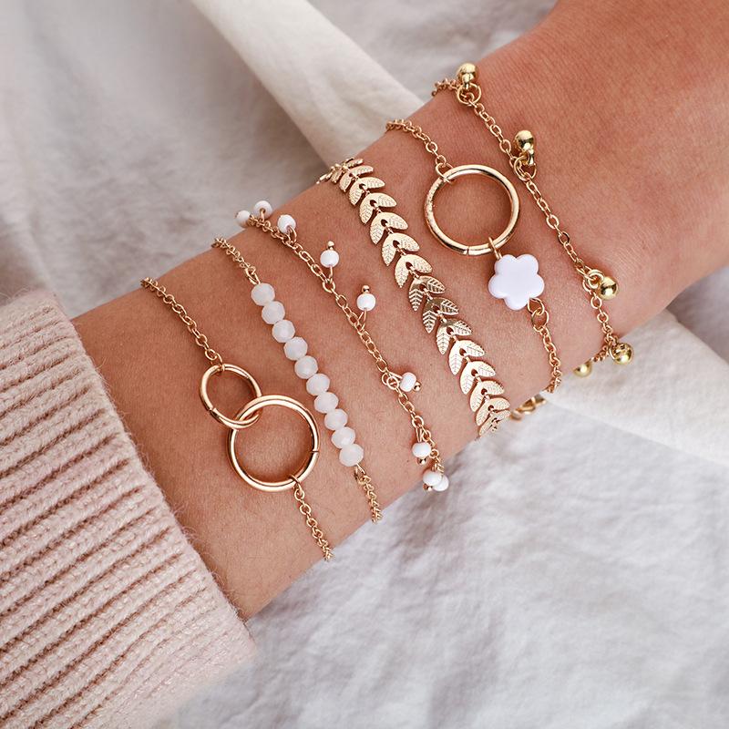 New simple circle bracelet flower arrow leaf bracelet set NHGY195400