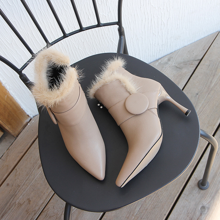 Fine stiletto boots women's new European and American pointed bare boots high-heeled water leopard hair female boots NHSO175743