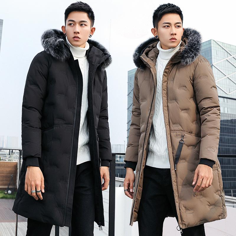 2020冬装韩版加厚中长款修身狐狸毛领棉衣潮流外套男装厂家批发
